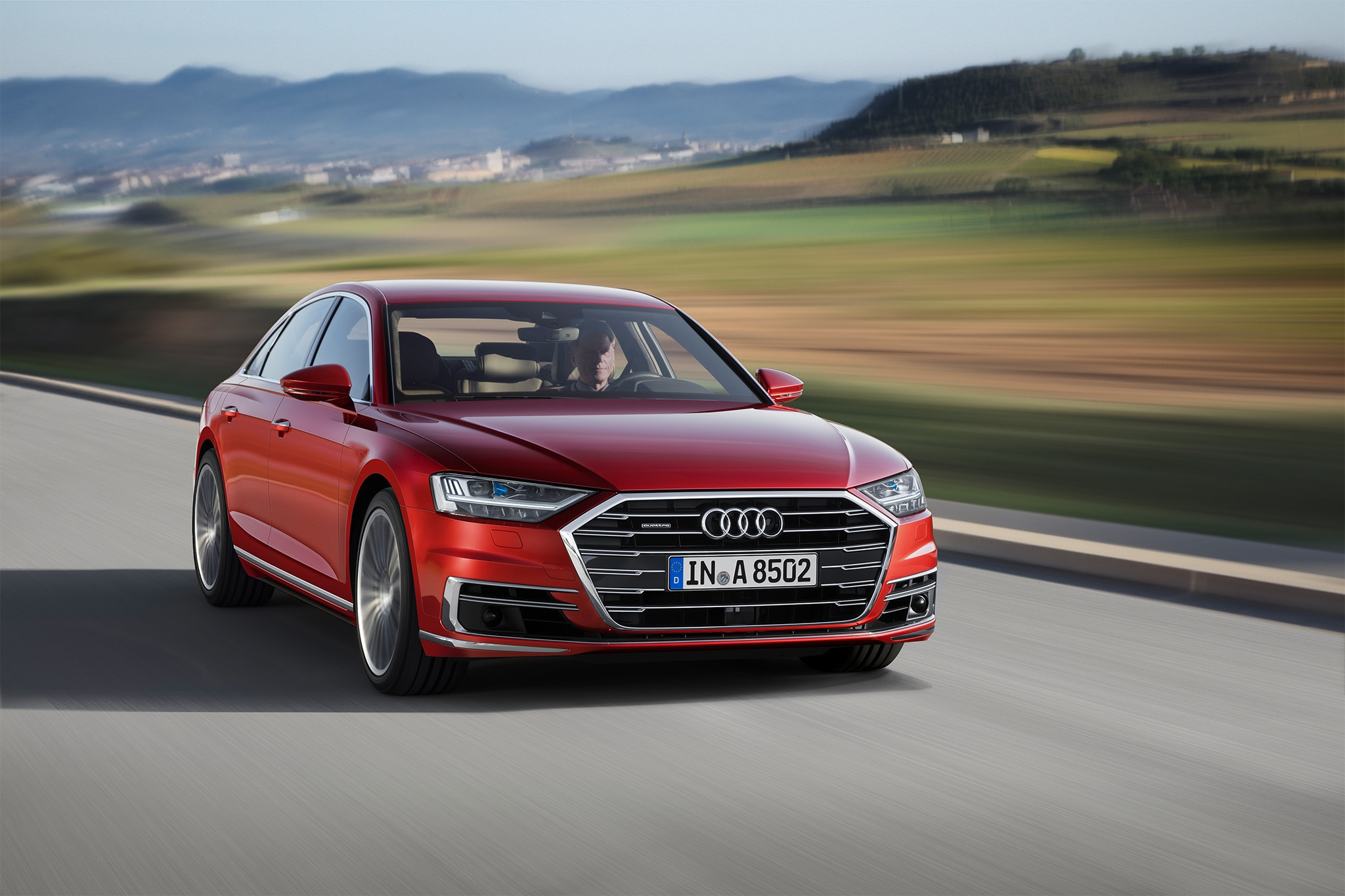 2019 Audi A8 Front Three Quarter In Motion 01